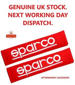 Sparco  Seat Belt Pads. Soft Cotton. Red.  260mm x 65mm 1 Pair.