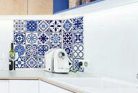 Walplus Tile Moroccan Blue Wall Sticker Decal (Size: 20cm x 20cm @ 12pcs)