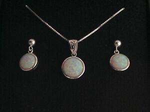 Celtic Fire Opal Round Pendant Necklace Earrings Set Sterling Silver Filigree