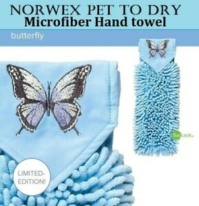 NORWEX CHENILLE LT Blue Butterfly HAND TOWEL KITCHEN BATH BATHROOM