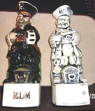 Set of 2 Vintage Pirate Rum Decanters - One Fully Painted; One Ghost Like Finish
