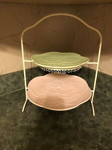 SPRINGTIME COLLECTION TIERED PLATE-EASTER Rose Design Plates Pink Lime