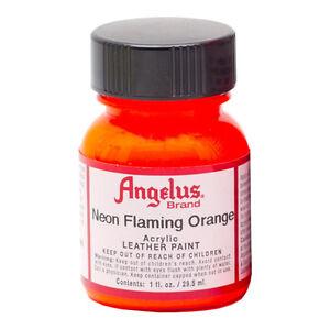 ANGELUS NEON FLURO ACRYLIC PAINT FOR LEATHER OR SYNTHETICS - SUPER BRIGHT ORANGE