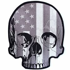 2XL HALF SKULL FLAG Biker BACK PATCH IRON ON Motorcycle Jacket Vest LARGE 12""