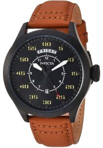Invicta Men's 'Aviator' 22974 Quartz Stainless Steel Day And Date Leather Watch