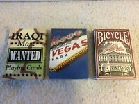 Lot of 3 Decks Playing Cards - US Presidents, Iraqi Most Wanted, Bee Las Vegas