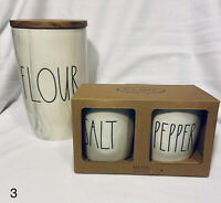 Rae Dunn Flour Ceramic Canister With Salt And Pepper Cellar Set Marbled Wood Lid