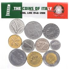 MIXED LOT 10 ITALY COINS ITALIAN LIRA LIRE COLLECTIBLE OLD COINS 1946-2001