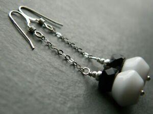 Vintage White Milk Glass, Art Deco Black French Jet & Sterling Silver Earrings