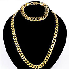 "Charming Exquisite Gift Gold filled Men's Bracelet + Necklace 21.5"" Chain Set"
