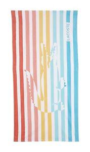 """Lacoste 100% Cotton Beach Towel, 36"""" W x 72"""" L Striped Rainbow Multi Color Rare"""