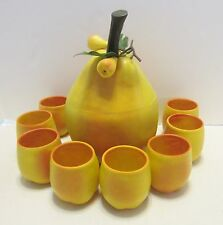 Vintage Evers Plastic Pear Ice Bucket & 8 Tumbler Holders Mid Century Rare