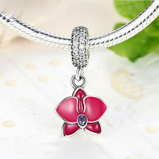 Genuine .925 STERLING SILVER Radiant Orchid Flower Pendant Bracelet Charm