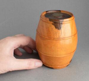 Vintage CARVED Wood WOODEN BARREL Pot/Box 1950 Farthing Coin in Lid EBONY/LIGNUM