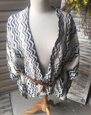 NWOT Womens Xhilaration Aztec Cardigan Belted Blouse Grey Yellow Size XS