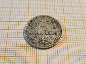 0035: 1/2 Mark 1905 G Silber Fehlprägung Münzzeichen doppelt