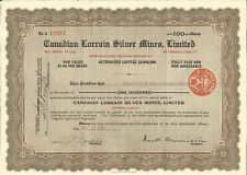 Canadian Lorrain Silver Mines Limited Share Certificate Nov 23rd 1926 - S085