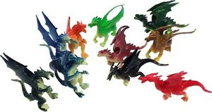 "2.5"" - 3"" Plastic Fire Breathing Mini Dragons - 10 Pieces"