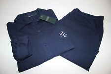 NWT RALPH LAUREN Lrg Women's 3/4 Adjust Sleeve Navy Cotton Knit Pajama Pant Set
