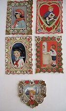 Vintage Antique Children's Valentines - Set of (5) Which Are Bright & Pretty *
