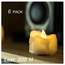 6 Flickering Battery Operated Flameless LED Tea Lights Tealight Candles w/ Drips