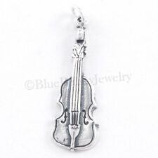 VIOLIN charm Charm Musical Music Pendant STERLING SILVER Solid 925 .925 3D
