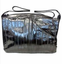 Lee Sands Black Eelskin Leather Front Pocket Hobo Bag