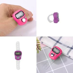Digital LCD Knitting Row Counter Crochet Stitch Finger Tally with Strap 0 - 9999