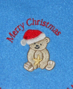 Merry Christmas Santa Claus Bear Gold Star Blue Fleece Trimmed Blanket 40 x 30