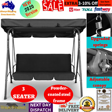 Outdoor Canopy Swing Chair 3 -Seater Black Patio Hammock Porch Yard Seat- Steel