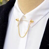 Men Shirt Collar Clips Bar Lapel Pin Chain Tie Brooch Necktie Stick Chic Fashion