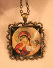 Lovely Scalloped Rim Brasstone Iconic Madonna with Child Cameo Pendant Necklace