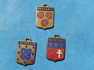 set 3  Vintage Enamel french Travel Shield Charms roses cross LYS grenoble VTUSA