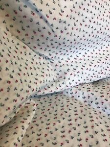 """Vintage Baby Blue Fabric w Red and Purple Flowers 8 yds x 44"""" Cottagecore"""