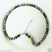 "Natural 8mm Multicolor South Sea Shell Pearl Round Gemstone Necklace 18""AAA+"