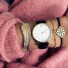 Women 3Pcs Leaf Simple Adjustable Open Bangle Gold Bracelets New Fashion Jewelry