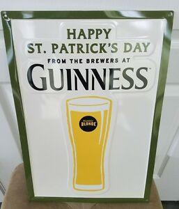 """Guinness Blonde Beer Happy St Patricks Day Tin Sign Embossed New 20"""" x 14"""""""