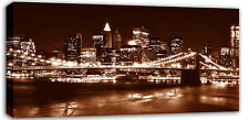 "NEW YORK CANVAS PICTURE WALL ART  SKYLINE BROWN 42""x20"""