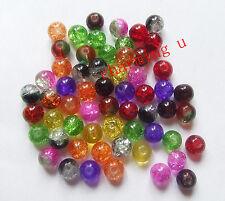 50pz  misti perline  in vetro spacer separatori 8mm  crackle glass beads