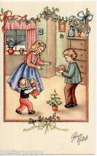 Bambini scambiano Doni Bambola Buon Natale PC Circa 1940 ITALY Xmas Childrens