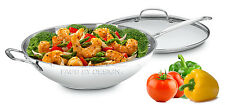 """Cuisinart Stainless 14"""" Stir Fry Pan Wok Helper Handle Glass Cover Stove Kitchen"""