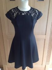 STYLISH RIVER ISLAND BLACK SKATER DRESS UK SIZE 10 BARELY WORN GOOD CONDITION