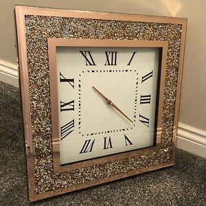 NEW Glamorous Rose Gold Crushed Crystal Large Mirrored Wall Clock