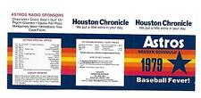 1979 Houston Astros Unfolded Tri-Fold Pocket Schedule