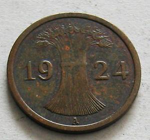 GERMANY - 1 REICHSPFENNIG - BRONZE 1924A - KM # 37