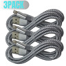 3Pack iPhone Charger 6Ft Heavy Duty Lightning Cable Xs XR 8 7 USB Charging Cord