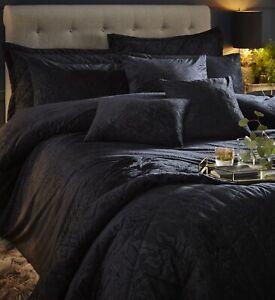Embossed Velvet Duvet Cover Beaufort pomegranate Quilt Bedding Set Black King