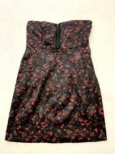 Silence + Noise M Black Red Floral Dot Zipper Bodice Strapless Dress Satin