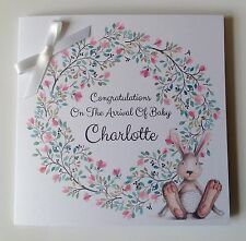 Personalised New Baby Girl Card , Congratulations Twins, With Crystal Elements