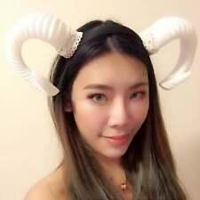 White Horn Demon Angel Nymph Ram Horn Headdress Diablo Sheep Costume
